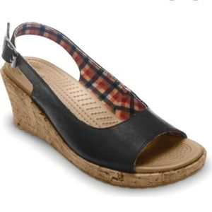 50% OFF leather wedge crocs 9 plaid lined inside